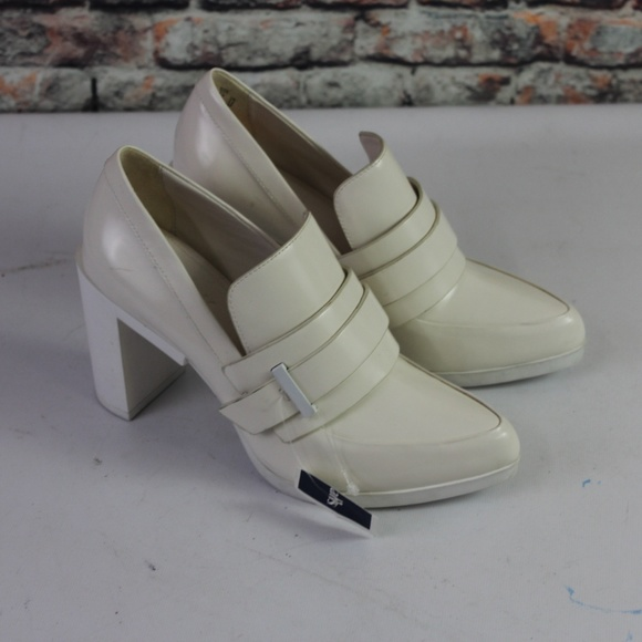 57515cd6a2d3 DKNY Patent White Leather Block Heel Loafers
